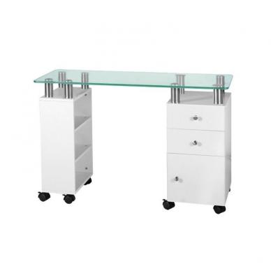 Manikiūro stalas GLASS WHITE