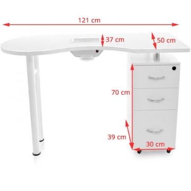 Manikiūro stalas su dulkių surinkėju DESK WHITE 6
