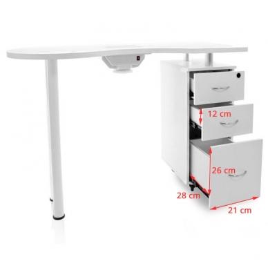 Manikiūro stalas su dulkių surinkėju DESK WHITE 7