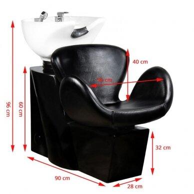 Kirpyklos plautuvė GABBIANO PROFESSIONAL HAIRWASHER ROUND BLACK SEAT 2