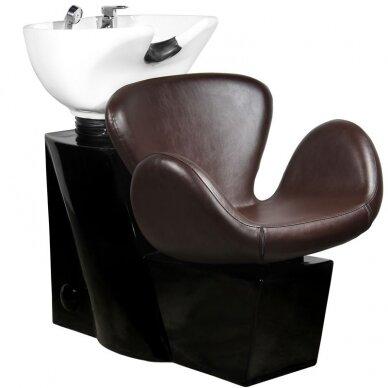 Kirpyklos plautuvė GABBIANO PROFESSIONAL HAIRWASHER ROUND BROWN SEAT
