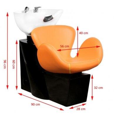 Kirpyklos plautuvė GABBIANO PROFESSIONAL HAIRWASHER ROUND ORANGE SEAT 2