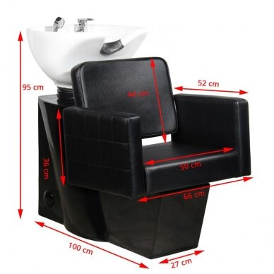 Juuksuri valamu GABBIANO PROFESSIONAL HAIRWASHER CHAIR BLACK BASE BLACK SEAT 2