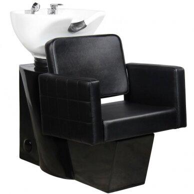 Kirpyklos plautuvė GABBIANO PROFESSIONAL HAIRWASHER CHAIR BLACK BASE BLACK SEAT