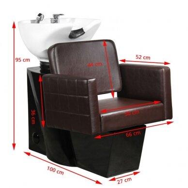 Juuksuri valamu GABBIANO PROFESSIONAL HAIRWASHER CHAIR BLACK BASE BROWN SEAT 2