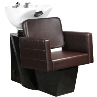 Kirpyklos plautuvė GABBIANO PROFESSIONAL HAIRWASHER CHAIR BLACK BASE BROWN SEAT