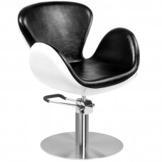 Kirpyklos kėdė GABBIANO HAIRDRESSING CHAIR ROUND BLACK WHITE