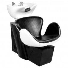 Kirpyklos plautuvė GABBIANO PROFESSIONAL HAIRWASHER ROUND BLACK WHITE SEAT