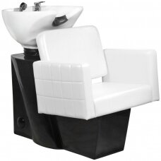 Kirpyklos plautuvė GABBIANO PROFESSIONAL HAIRWASHER CHAIR BLACK BASE WHITE SEAT