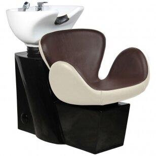 Friziera izlietne GABBIANO PROFESSIONAL HAIRWASHER ROUND BROWN BEIGE SEAT