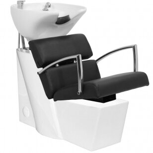 Kirpyklos plautuvė GABBIANO PROFESSIONAL HAIRWASHER WHITE BASE STRIP BLACK SEAT