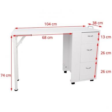 Sulankstomas manikiūro stalas DESK FOLDING WHITE 6