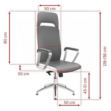Meistara krēsls COSMETIC CHAIR RICO PEDICURE / MAKE-UP GRAY WHITE 43CM 5
