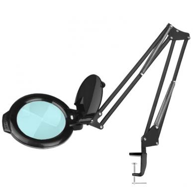 Kosmetologinė LED lempa su lupa 8W (juodos spalvos, tvirtinama prie stalo)