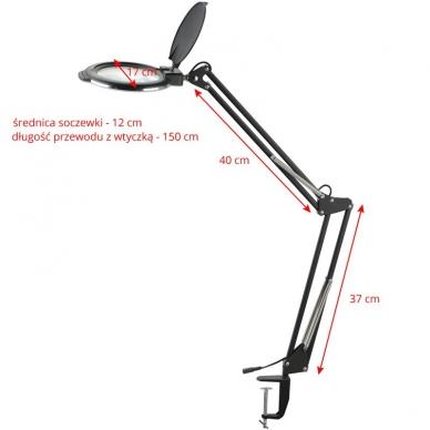 Kosmetologinė LED lempa su lupa 8W (juodos spalvos, tvirtinama prie stalo) 4