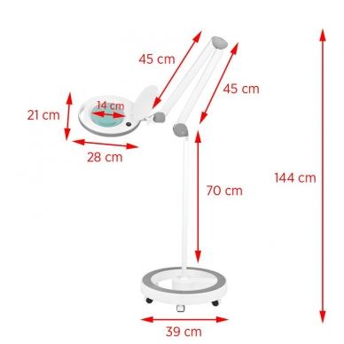 Kosmetologinė lempa LED su lupa 8W (pastatoma ant grindų, su ratukais) 8