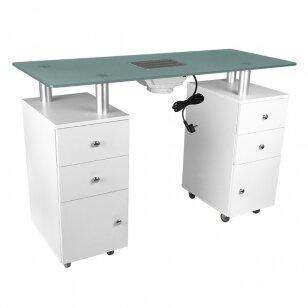 Manikīra galds ar putekļu savācēju GLASS COSMETIC DESK WHITE