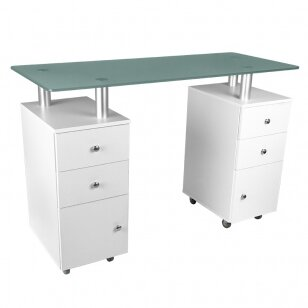 Maniküürilaud GLASS COSMETIC DESK WHITE