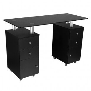 Maniküürilaud GLASS COSMETIC DESK BLACK