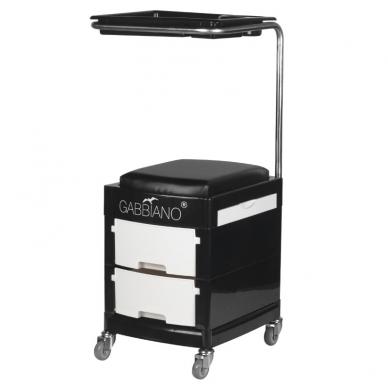 Pedikiūro vežimėlis - kėdutė HELPER PEDICURE STOOL BLACK/WHITE