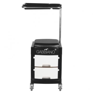 Pedikiūro vežimėlis - kėdutė HELPER PEDICURE STOOL BLACK/WHITE 2