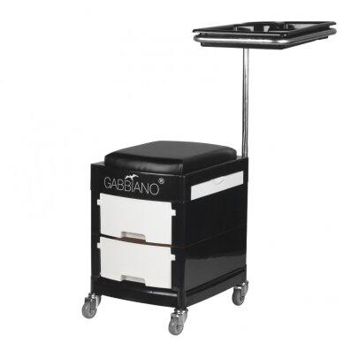 Pedikiūro vežimėlis - kėdutė HELPER PEDICURE STOOL BLACK/WHITE (1) 3