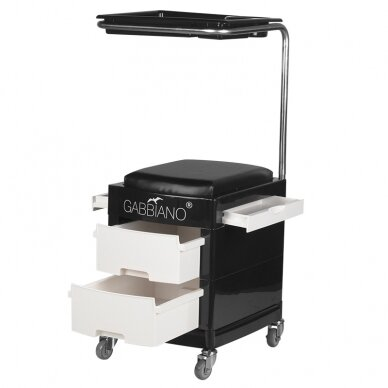 Pedikiūro vežimėlis - kėdutė HELPER PEDICURE STOOL BLACK/WHITE (1) 4