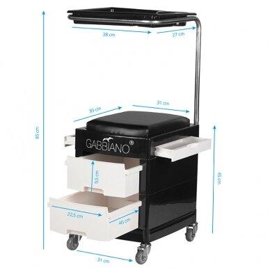 Pedikiūro vežimėlis - kėdutė HELPER PEDICURE STOOL BLACK/WHITE (1) 7