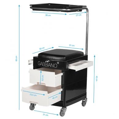 Pedikiūro vežimėlis - kėdutė HELPER PEDICURE STOOL BLACK/WHITE 7