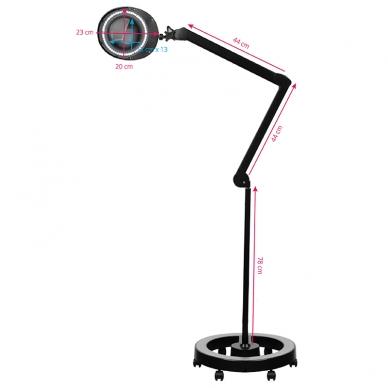 Kosmetologinė lempa LED su lupa 6W (pastatoma ant grindų, su ratukais) 6