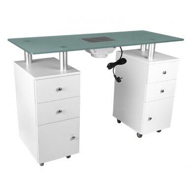 Manikiūro stalas su dulkių surinkėju GLASS COSMETIC DESK WHITE