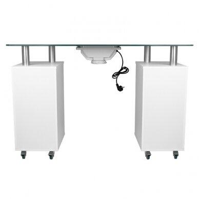 Manikiūro stalas su dulkių surinkėju GLASS COSMETIC DESK WHITE 3