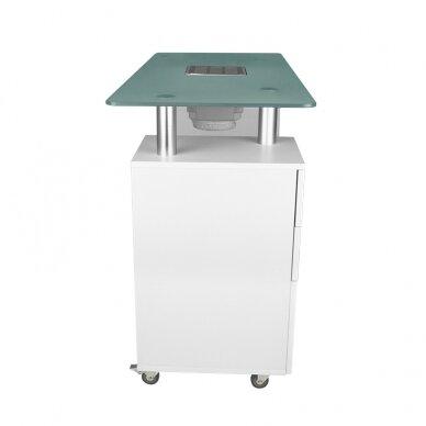 Manikiūro stalas su dulkių surinkėju GLASS COSMETIC DESK WHITE 4