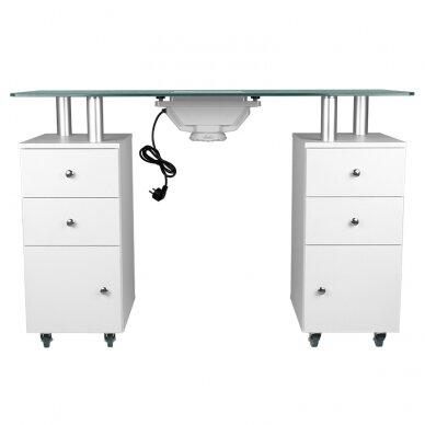 Manikiūro stalas su dulkių surinkėju GLASS COSMETIC DESK WHITE 5