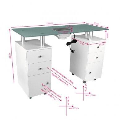 Manikiūro stalas su dulkių surinkėju GLASS COSMETIC DESK WHITE 6