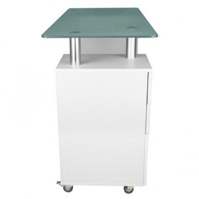 Manikiūro stalas GLASS COSMETIC DESK WHITE 3