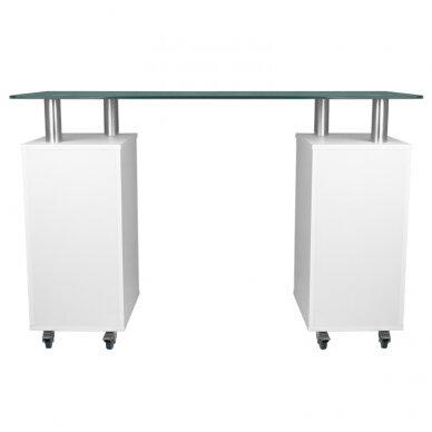 Manikiūro stalas GLASS COSMETIC DESK WHITE 4