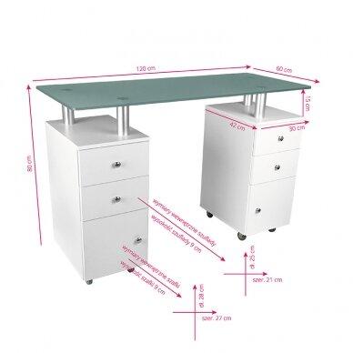 Manikiūro stalas GLASS COSMETIC DESK WHITE 5