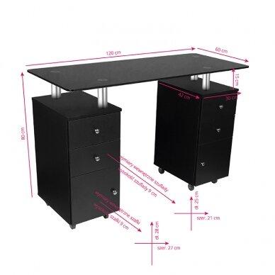 Manikiūro stalas GLASS COSMETIC DESK BLACK 5