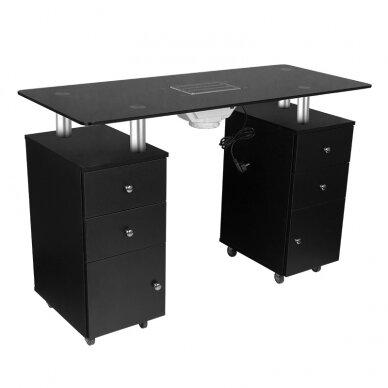Manikiūro stalas su dulkių surinkėju GLASS COSMETIC DESK BLACK