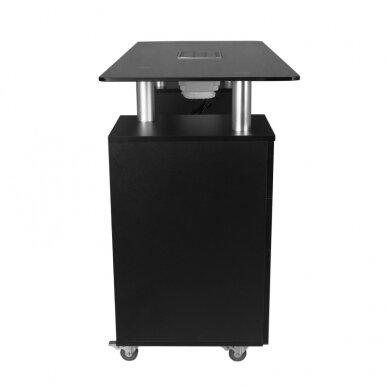 Manikiūro stalas su dulkių surinkėju GLASS COSMETIC DESK BLACK 4