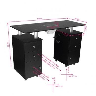 Manikiūro stalas su dulkių surinkėju GLASS COSMETIC DESK BLACK 6