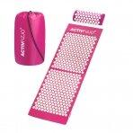 Akupresūros masažinis kilimėlis 130x43cm + Akupresūros masažinė pagalvė PINK