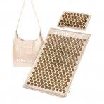 Akupresūros masažinis kilimėlis 70x42cm + Akupresūros masažinė pagalvė 39x25cm PREMIUM BEIGE GOLD