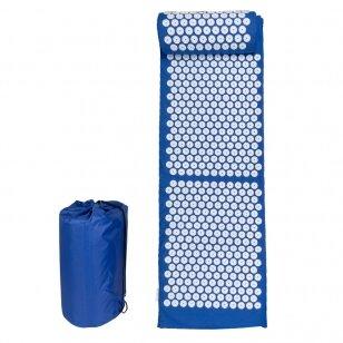 Akupresūros masažinis kilimėlis 130x43cm + Akupresūros masažinė pagalvė BLUE (1)
