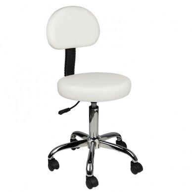 Meistara krēsls STOOL ROUND COMFORT BACK WHITE