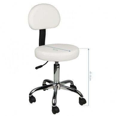 Meistara krēsls STOOL ROUND COMFORT BACK WHITE 5