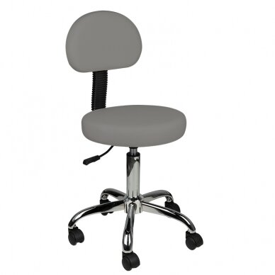 Meistara krēsls STOOL ROUND COMFORT BACK GRAY