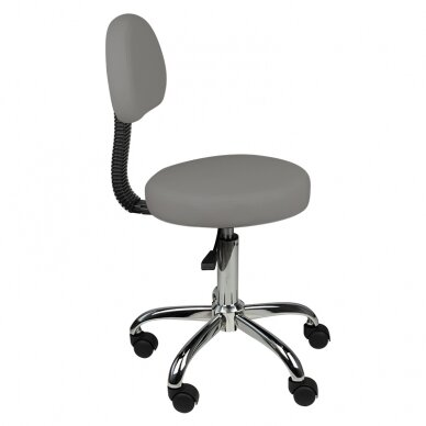 Meistara krēsls STOOL ROUND COMFORT BACK GRAY 2