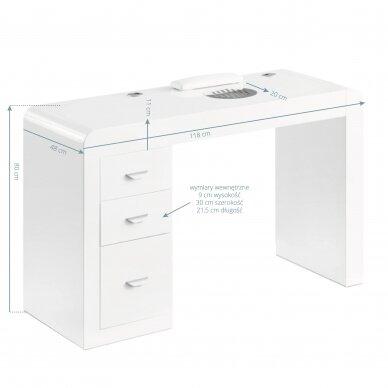 Manikiūro stalas su dulkių surinkėju IDEAL COSMETIC WHITE 4